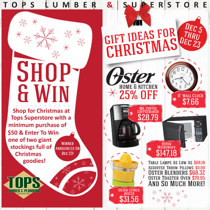 Christmas Shop And Win at TOPS Lumber