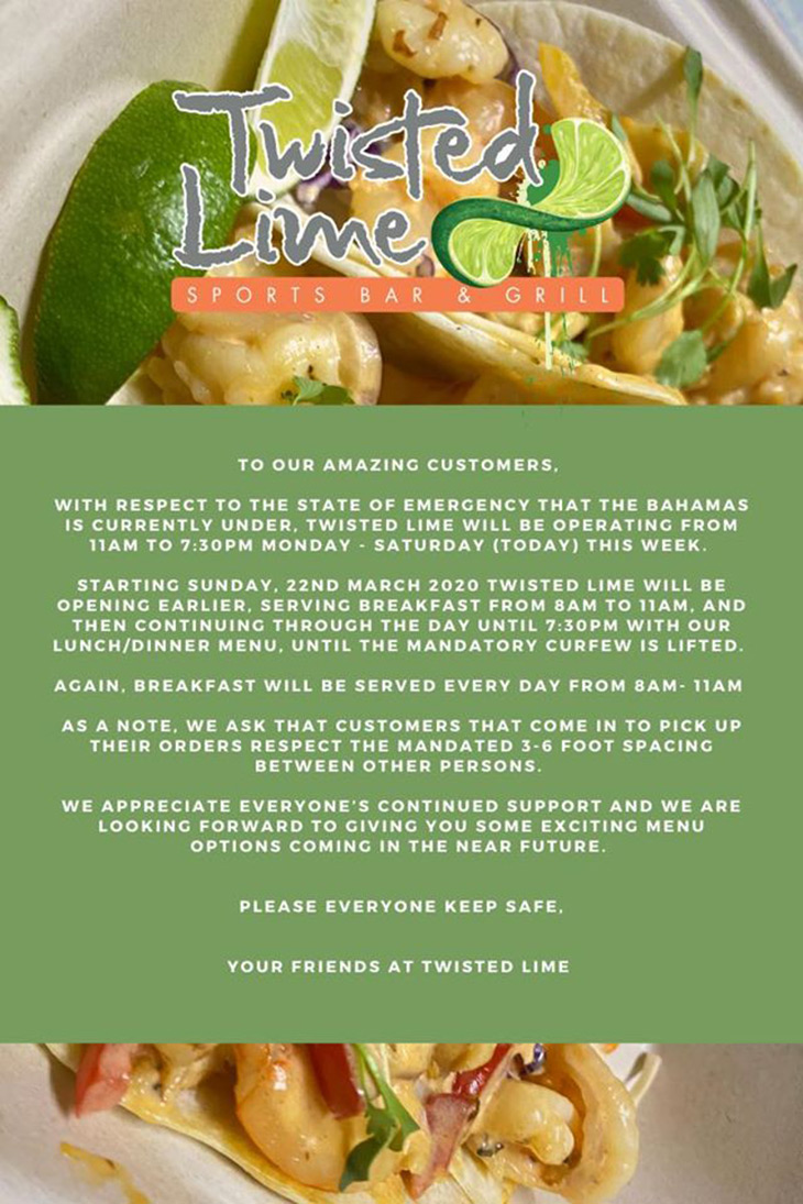 Twisted Lime. To Valued Customers