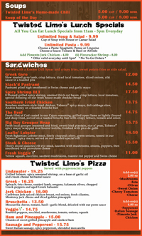 Menu at Twisted Lime