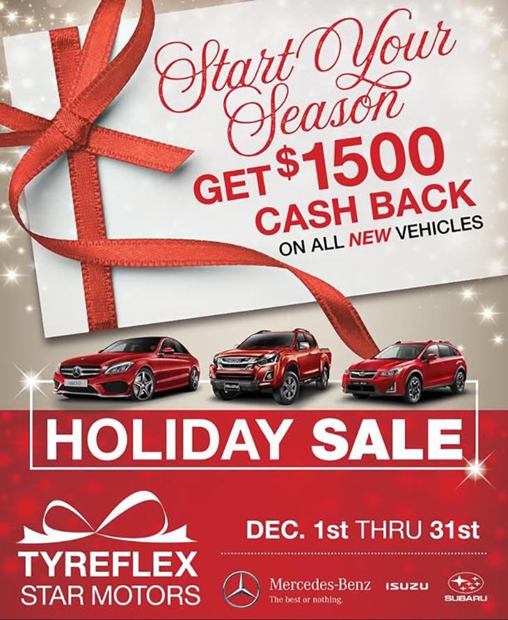 Start Your Season $1500 Cash Back Holiday Sale!