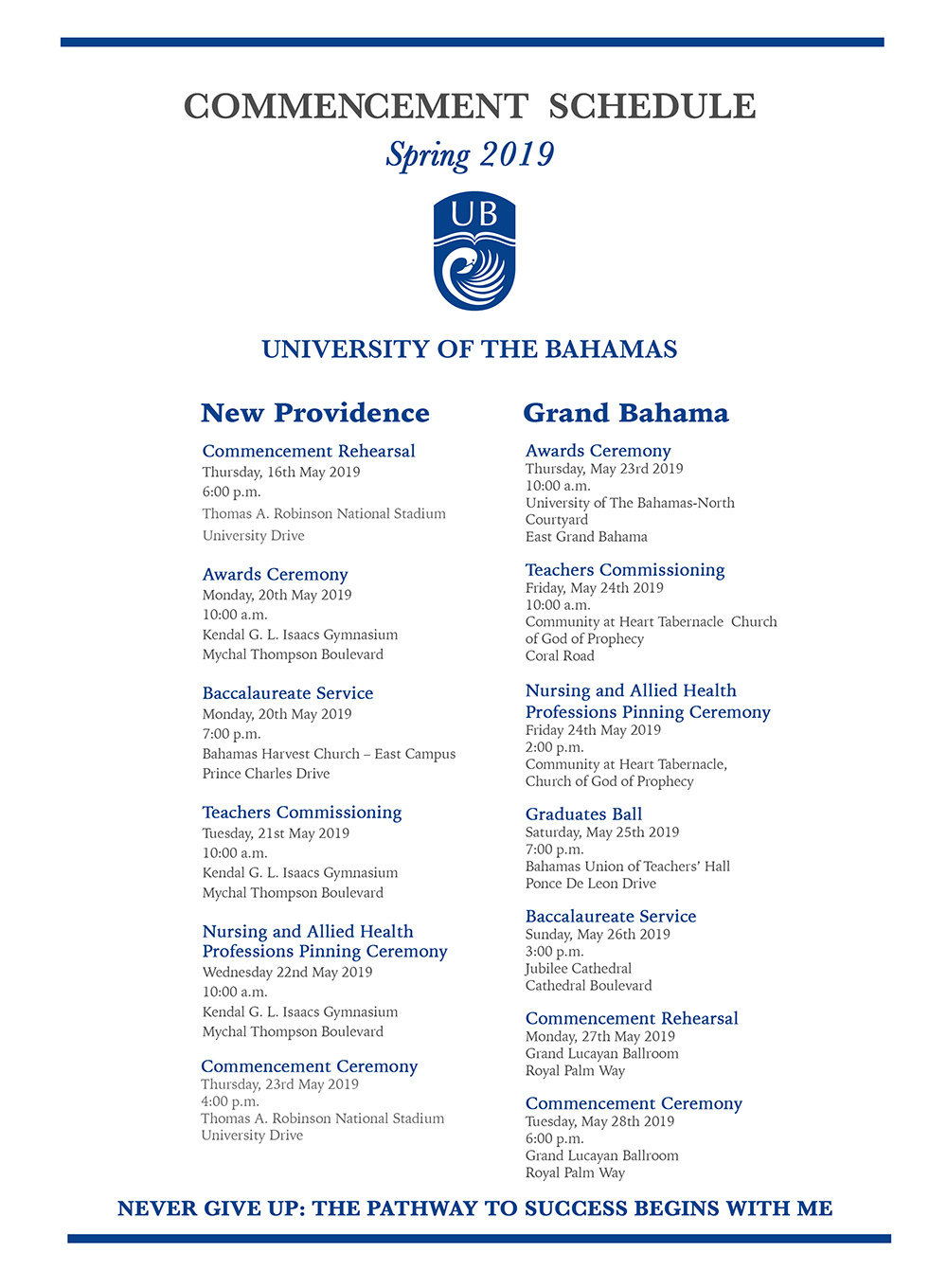 University of The Bahamas Commencement Schedule 2019