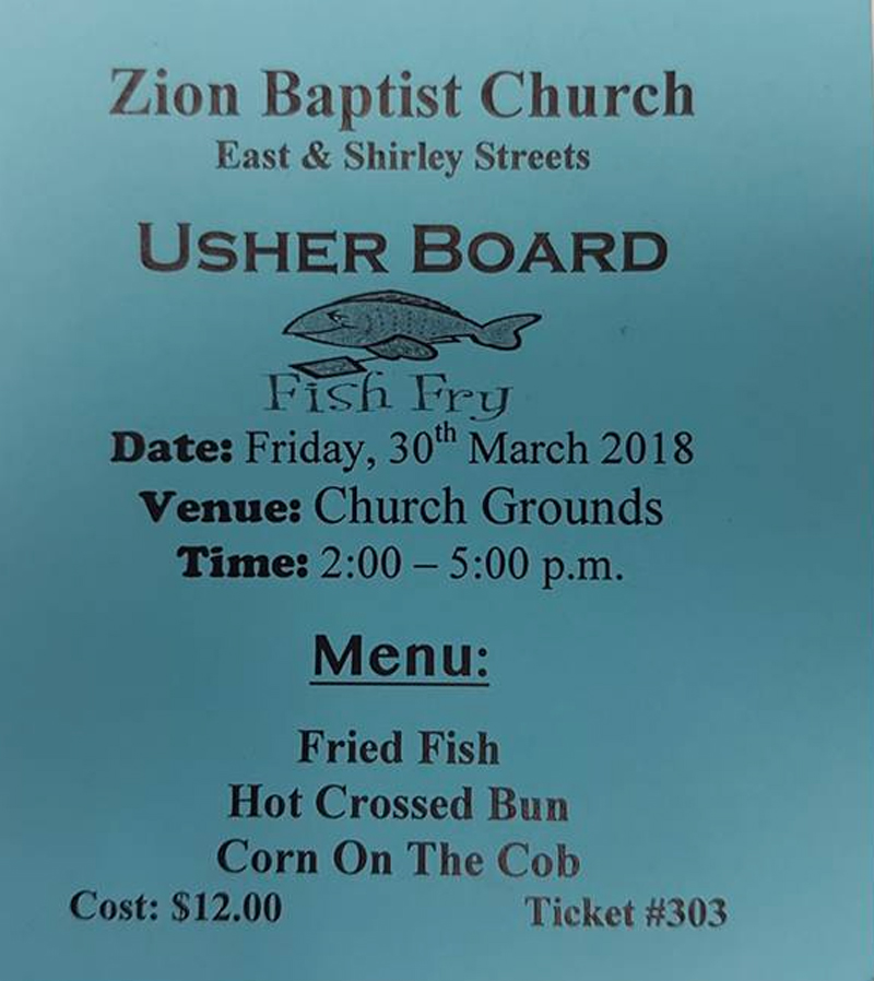 Usherboard Annual Fish Fry Hosted by Zion Baptist Church East & Shirley Streets