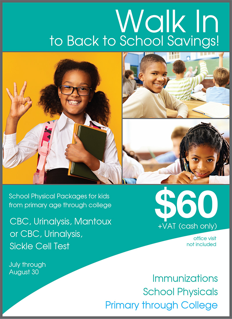 Walk-In Clinic - Back To School Savings
