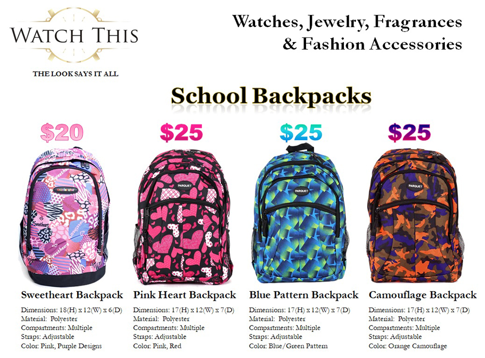 Watch This - Back To School Backpacks
