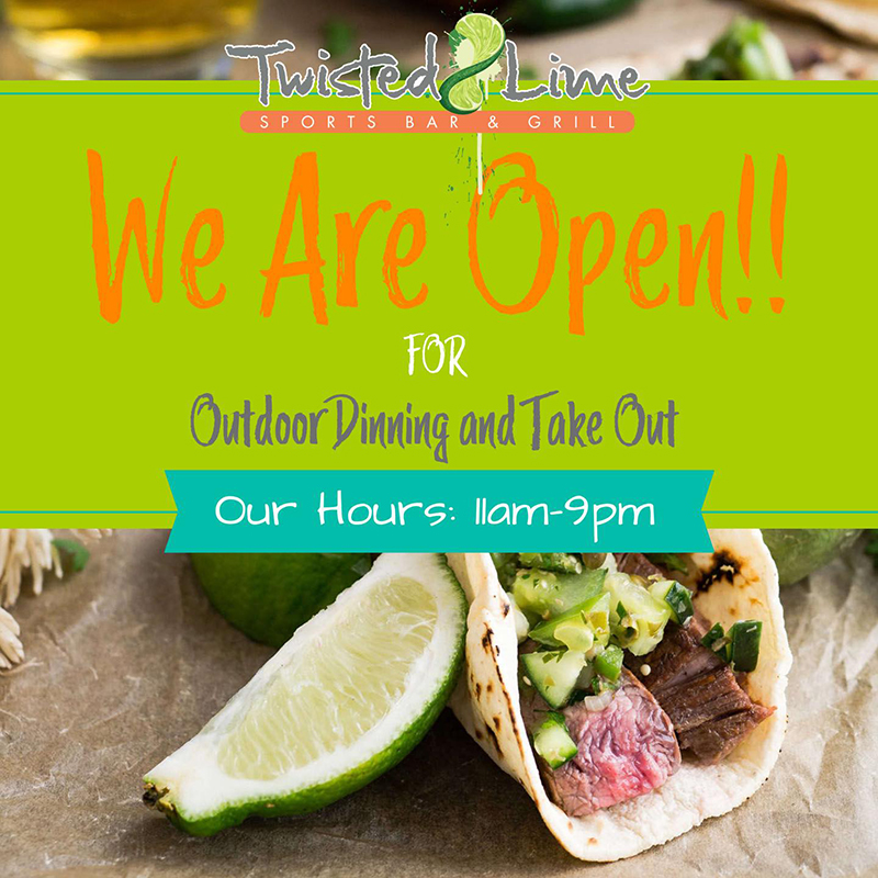 Twisted Lime Sports Bar & Grill. We are available for Take-Out & Outdoor dining.