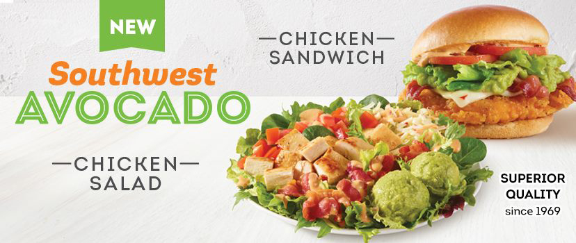 Try our NEW Southwest Avocado  Chicken Salad and Chicken Sandwich!