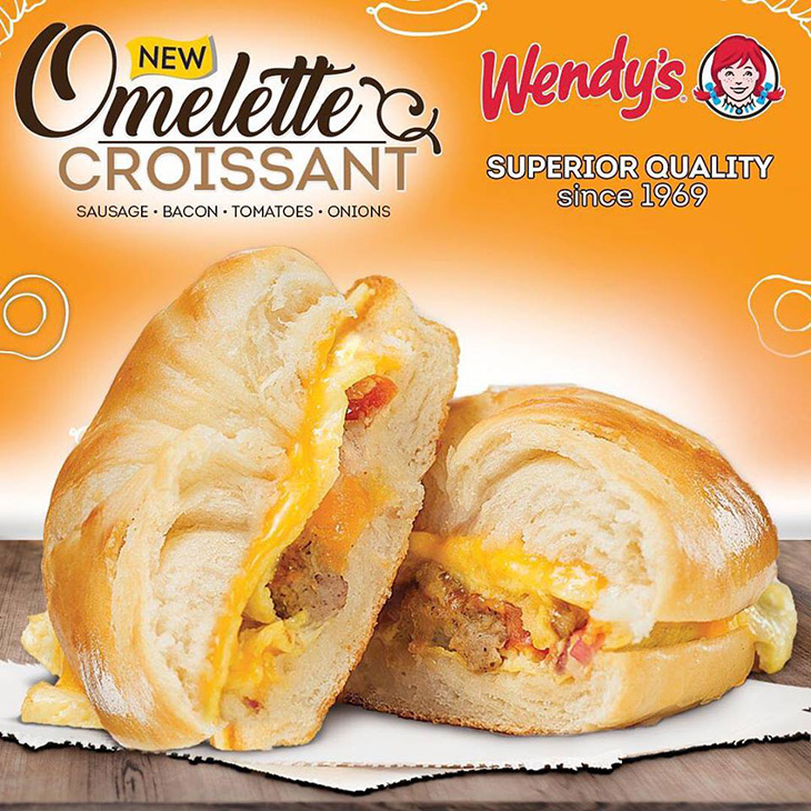 Make room, a new breakfast item is here! Try our new Omelette Croissant filled with Sausage, Bacon, Tomatoes and Onions
