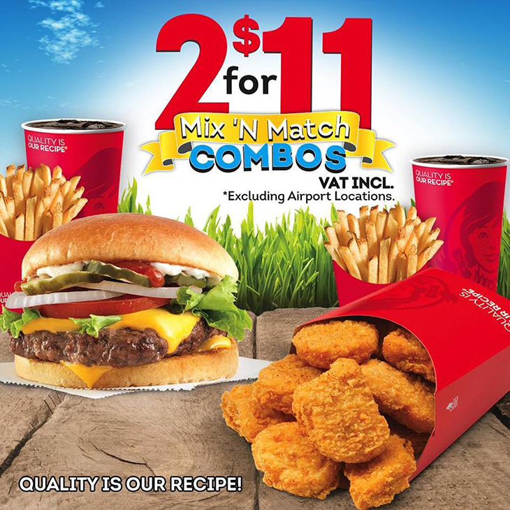 2 for $11 Mix 'N Match combos at Wendys