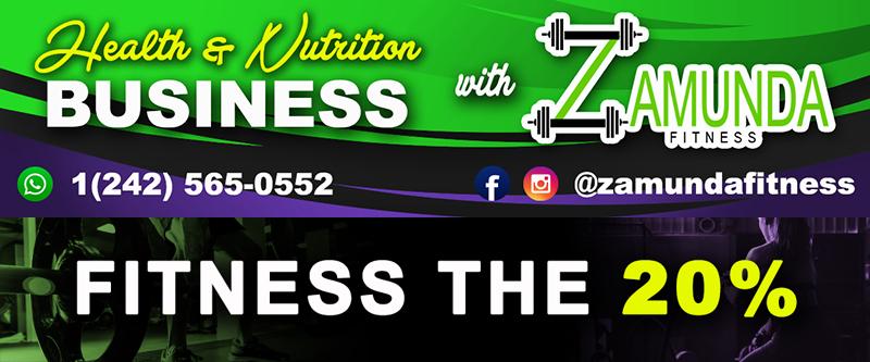 Graphic Header & Links to Zamunda social media sites. Fitness The 20%
