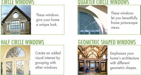 Architectural Windows: Circle Windows. Half Circle Windows. Quarter Circle Windows. Geometric Shaped Windows.