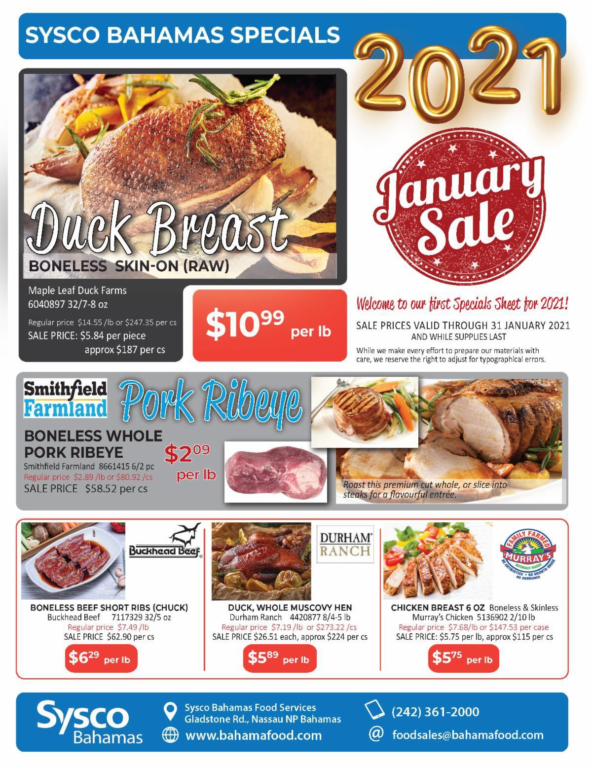 January Specials at Sysco Bahamas