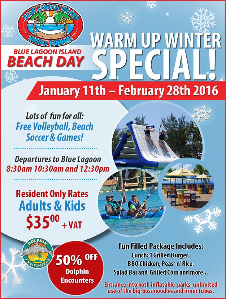 Blue Lagoon Island Presents Warm Up Winter Specials