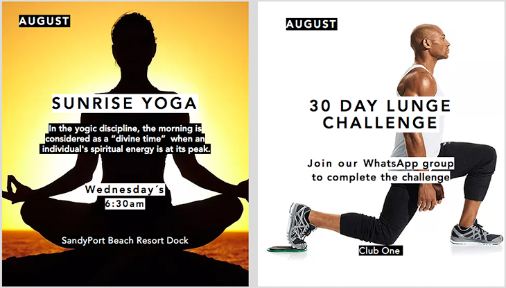 Club One Fitness Centre presents SUNRISE YOGA and 30 DAY LUNGE CHALLENGE