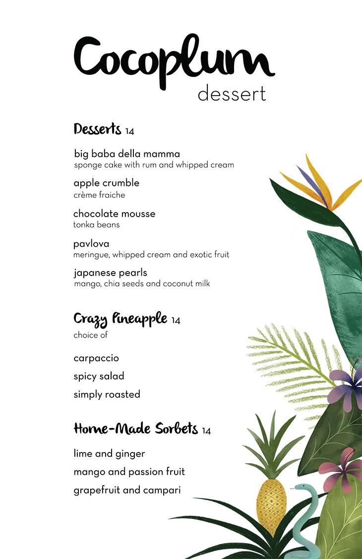 Cocoplum Bistro and Bar Dessert Menu