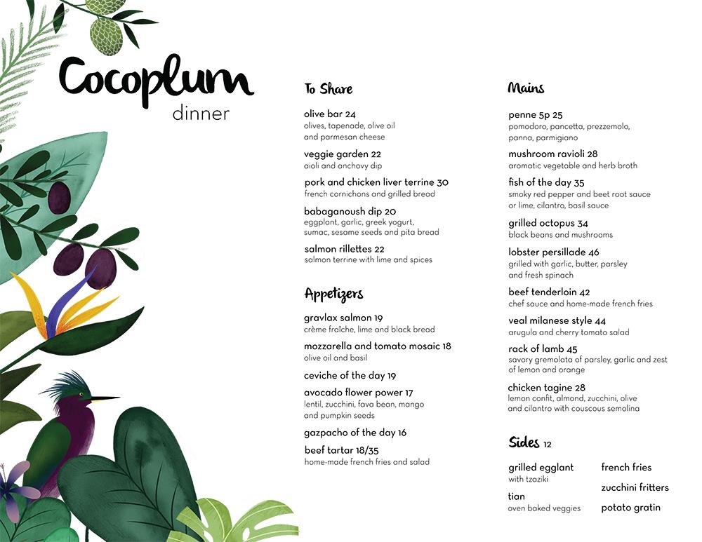 Cocoplum Bistro and Bar Dinner Menu