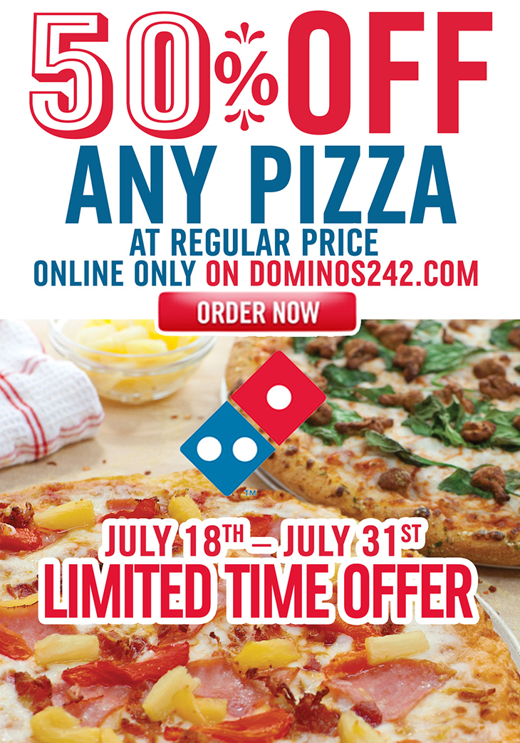 50% OFF On Any Pizza Online Only At Dominos Pizza!