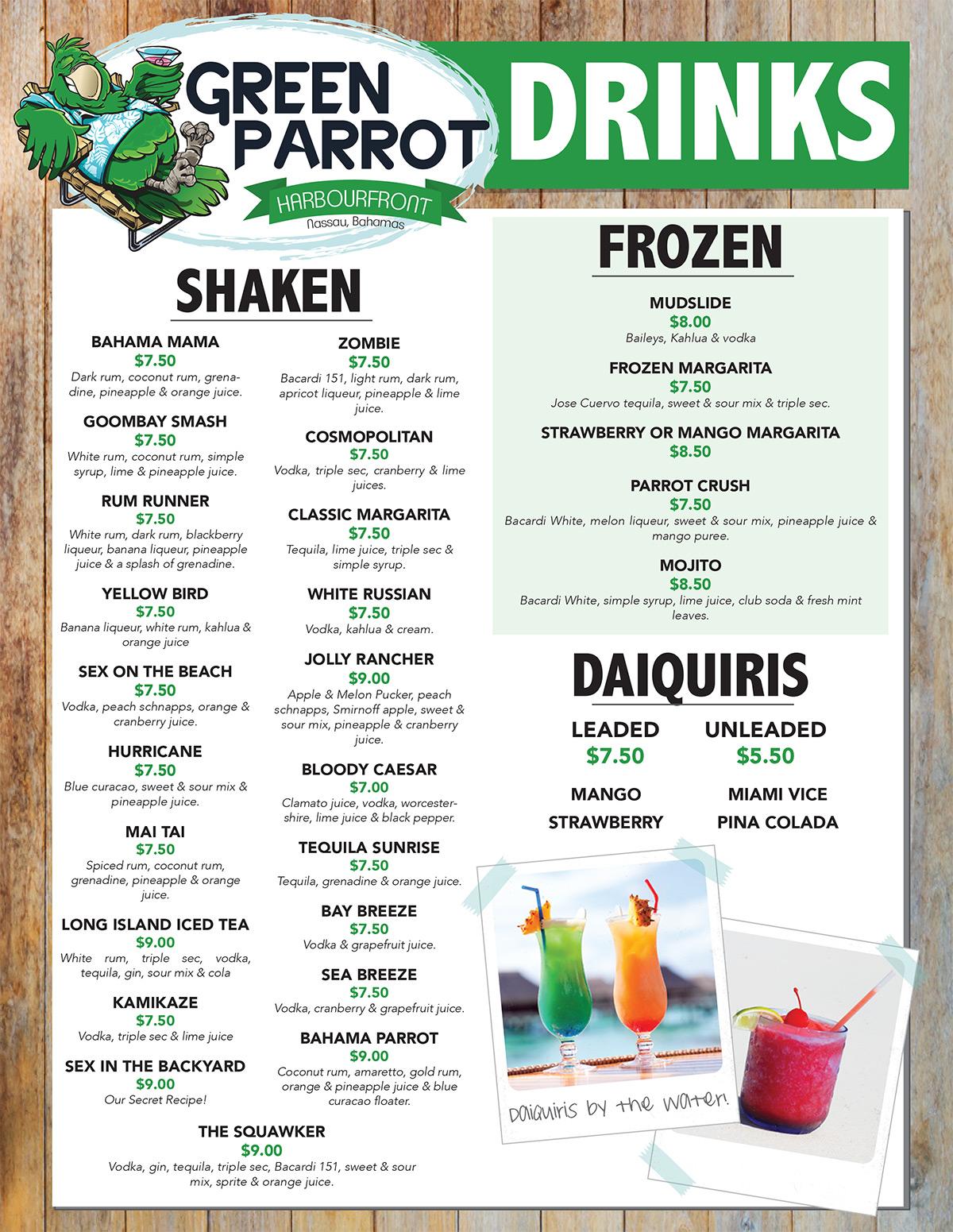 Green Parrot Harbour Front Menu