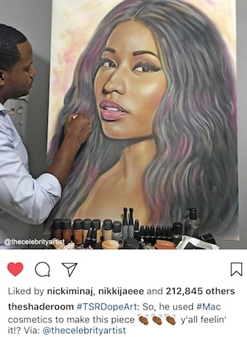 Nicki Minaj responds to Celebrity Artist's Portrait of her that was painted with makeup
