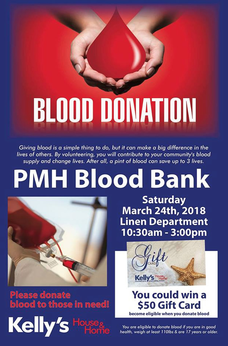 PMH Blood Bank Hosted by Kelly's House & Home