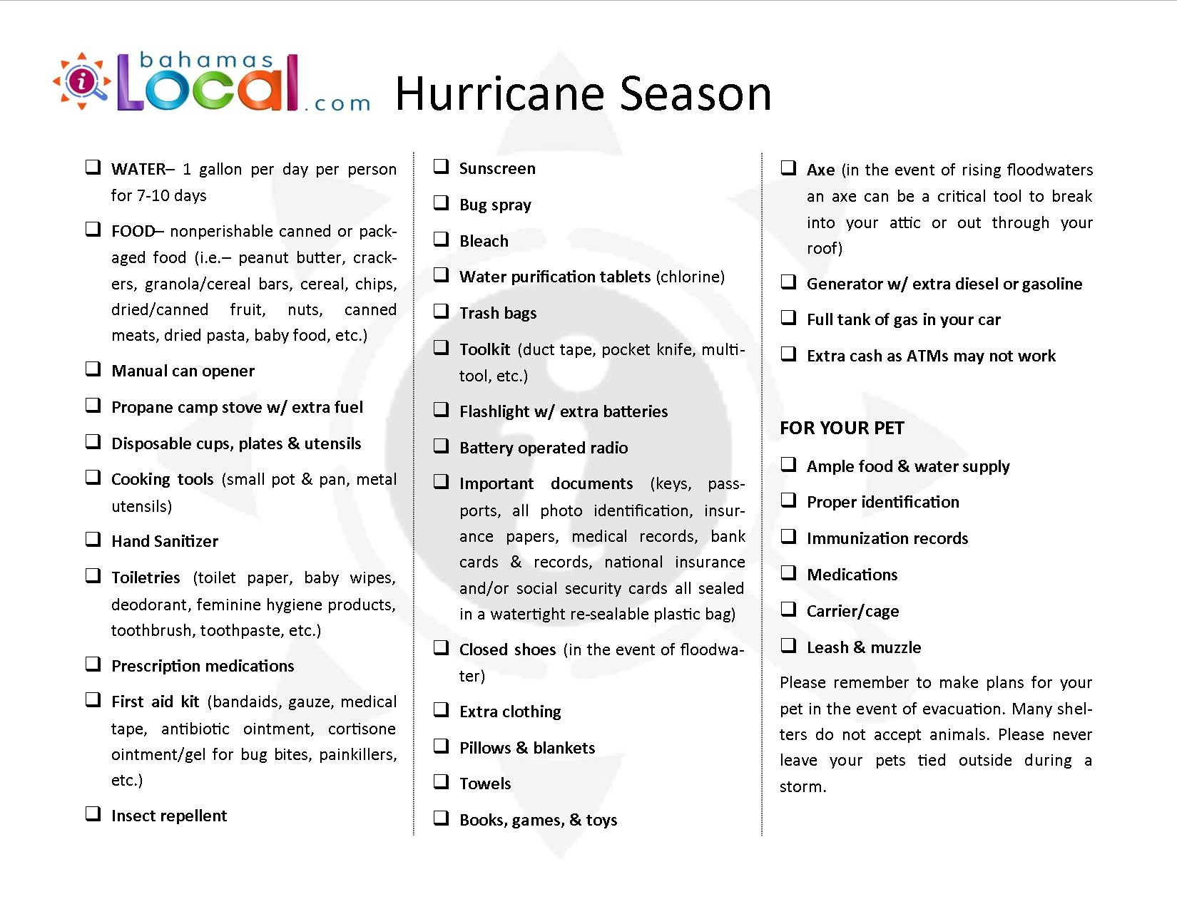 Checklist | Hurricane Season