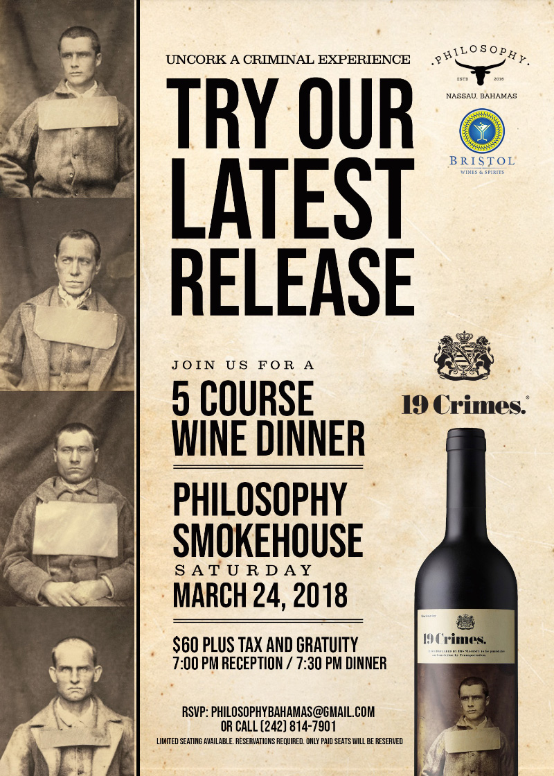 19 Crimes - 5 Course Wine Dinner