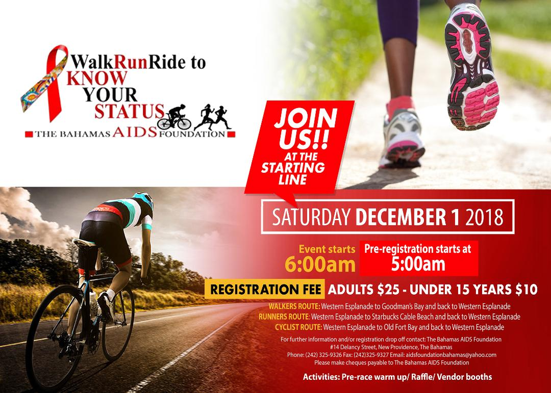Walk Run Ride to Know Your Status Presented by The Bahamas Aids Foundation