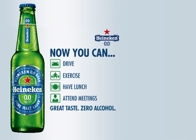 Heineken 0.0. Great Taste. Zero Alcohol