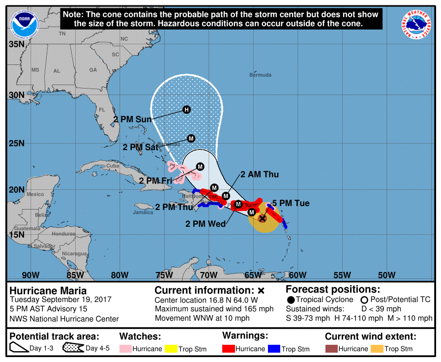 Catastrophic Hurricane Maria Passing Near The US Virgin Islands - Map of us virgin islands and bahamas