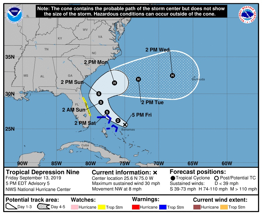 Alert #9 Tropical Depression forms near The Bahamas