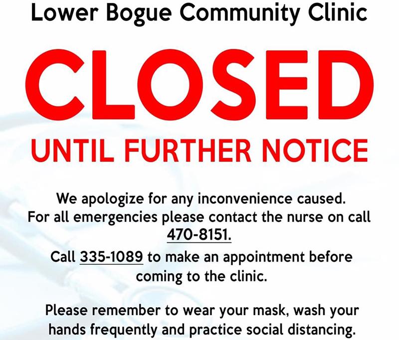 Public Notice Lower Bogue Community Clinic Closed