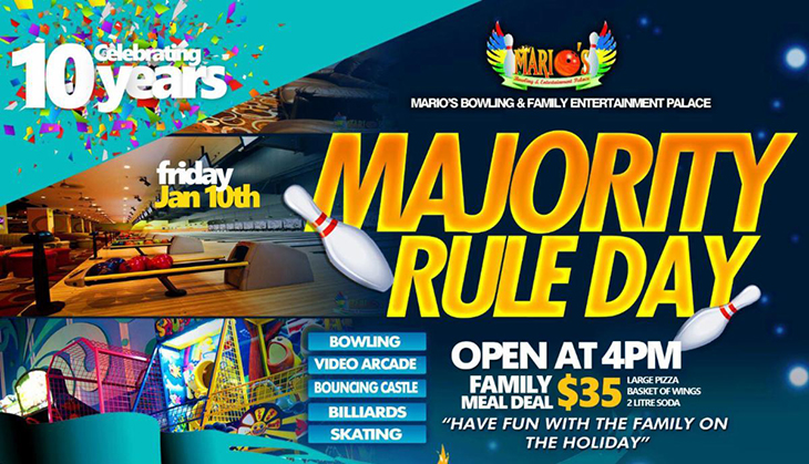 Majority Rule Day at Marios Bowling and Entertainment Palace.