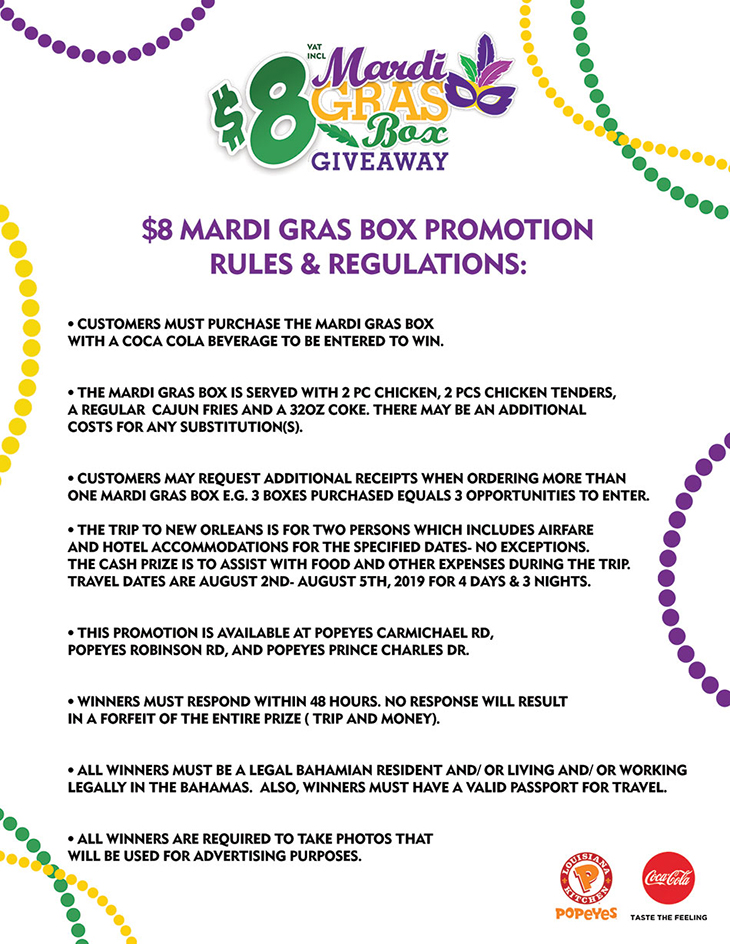 Rules For $8 Mardi Gras Box Giveaway at Popeyes