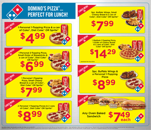Domino's Pizza Lunch Menu