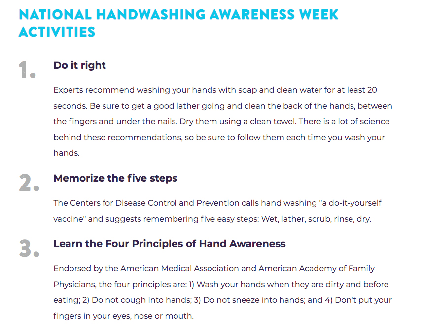 NATIONAL HANDWASHING AWARENESS WEEK ACTIVITIES