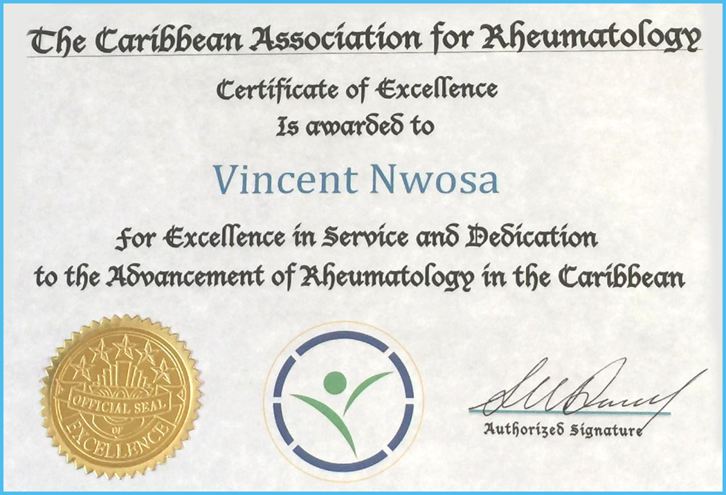 Local Rheumatologist Honored by The Caribbean Association for Rheumatology!