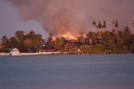 nygard cay burns to the ground - nygard cay on fire