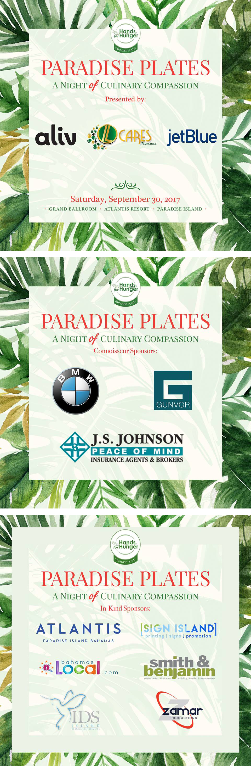 Paradise Plates Sponsors | Save The Date