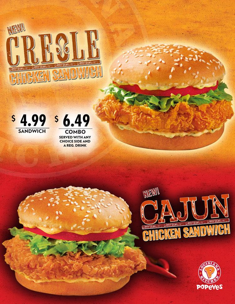 NEW! Creole Chicken Sandwich and Cajun Chicken Sandwich