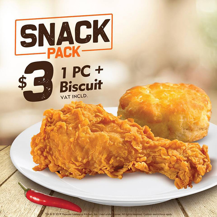 Popeyes | Snack Pack Special! A 1pc & Biscuit For Only $3 Bucks