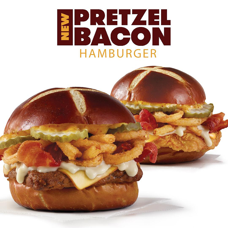 Wendy's | The new Pretzel Bacon Hamburger or Chicken Sandwich is available.