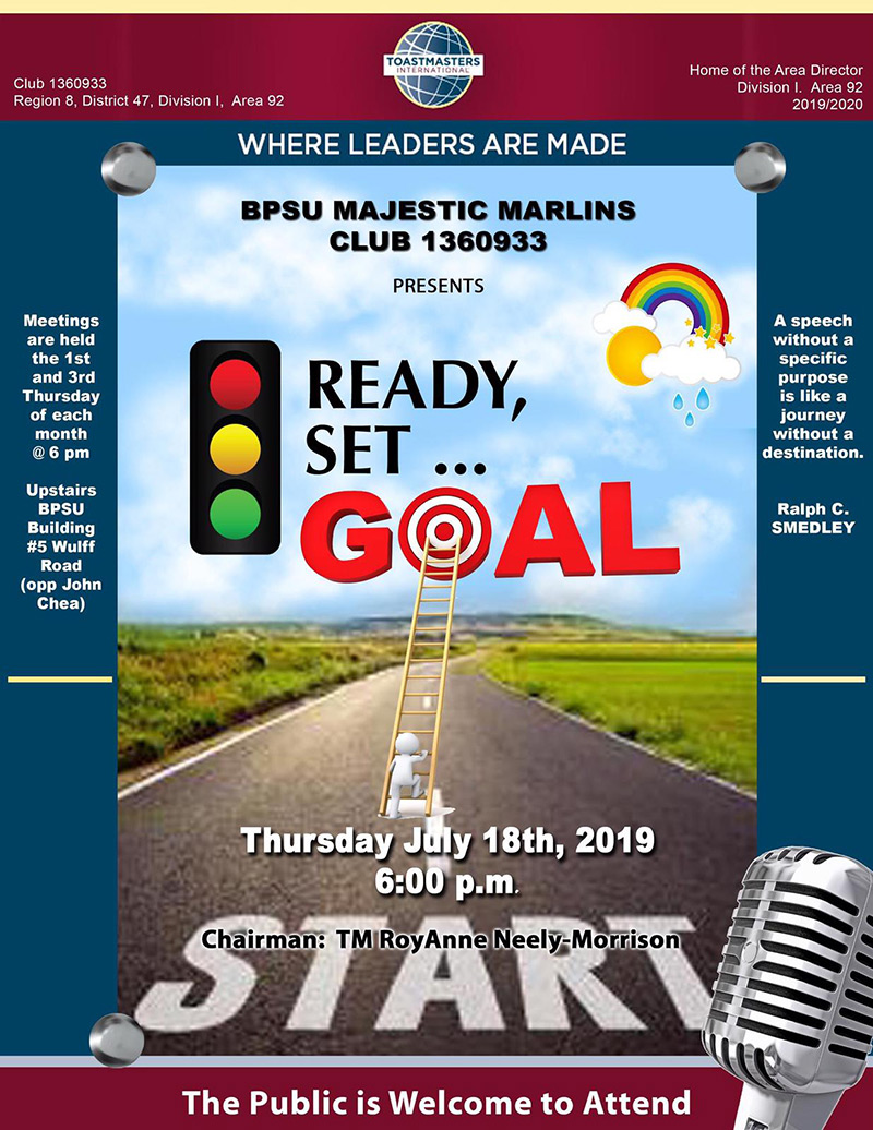BPSU Majestic Marlins Club 1360933 Presents Ready, Set, Goal.