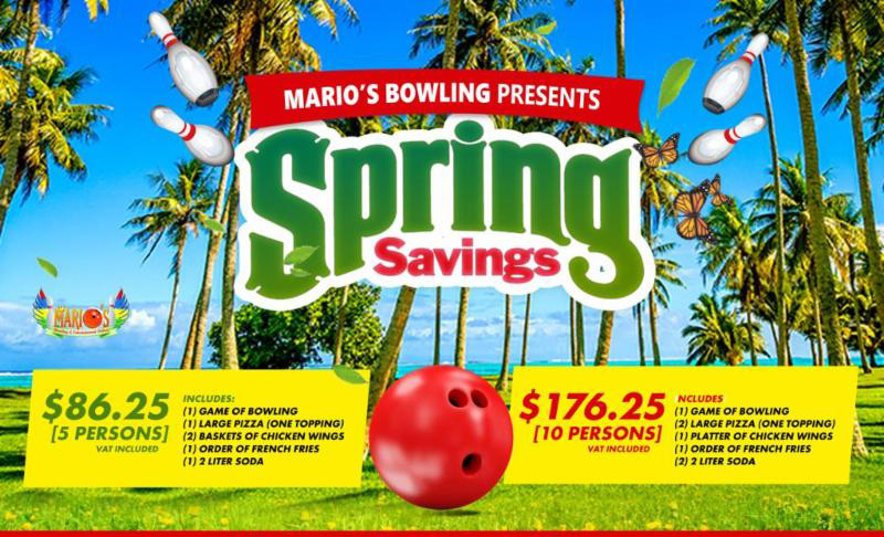 Spring Savings at Marios Bowling and Entertainment Palace.
