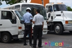 Prison Bus Crashes Into A Work Van