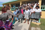 Mrs. Minnis Meets Receiving Line and Band Fanfare on Arriving a Central Eleuthera