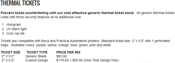 Prevent ticket counterfeiting with our cost effective generic thermal ticket stock