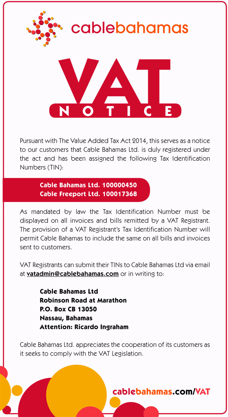 Cable Bahamas VAT Notice