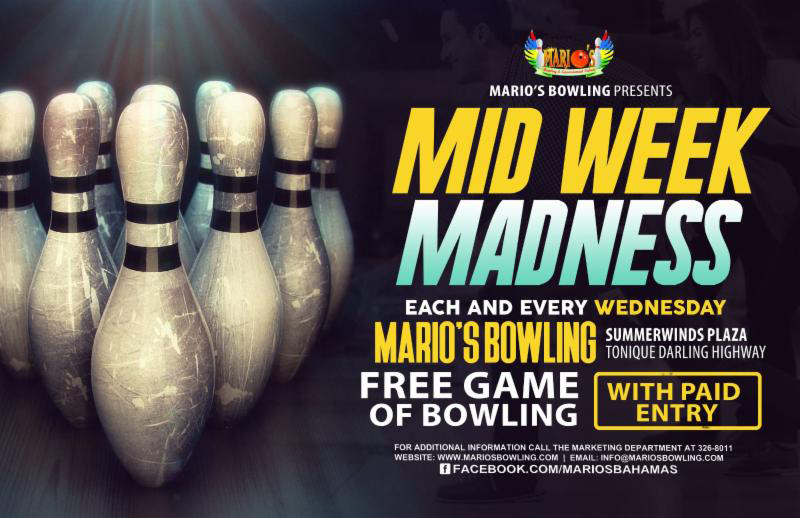 MID WEEK MADNESS IS BACK at Marios Bowling and Entertainment Palace. FREE BOWLING WEDNESDAYS