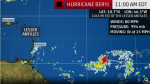Tiny Hurricane Beryl Intensifying, May Reach Lesser Antilles as a Hurricane Late Sunday or Monday