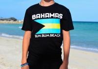Bahamas Bum Bum Beach T-Shirt with Bahamian Flag